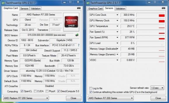 GIGABYTE GV-R725OC-1GI - GPU-Z Stock Idle