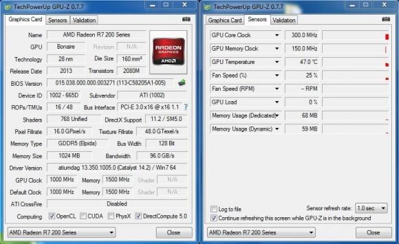 AMD Radeon R7 260X - GPU-Z Stock Idle