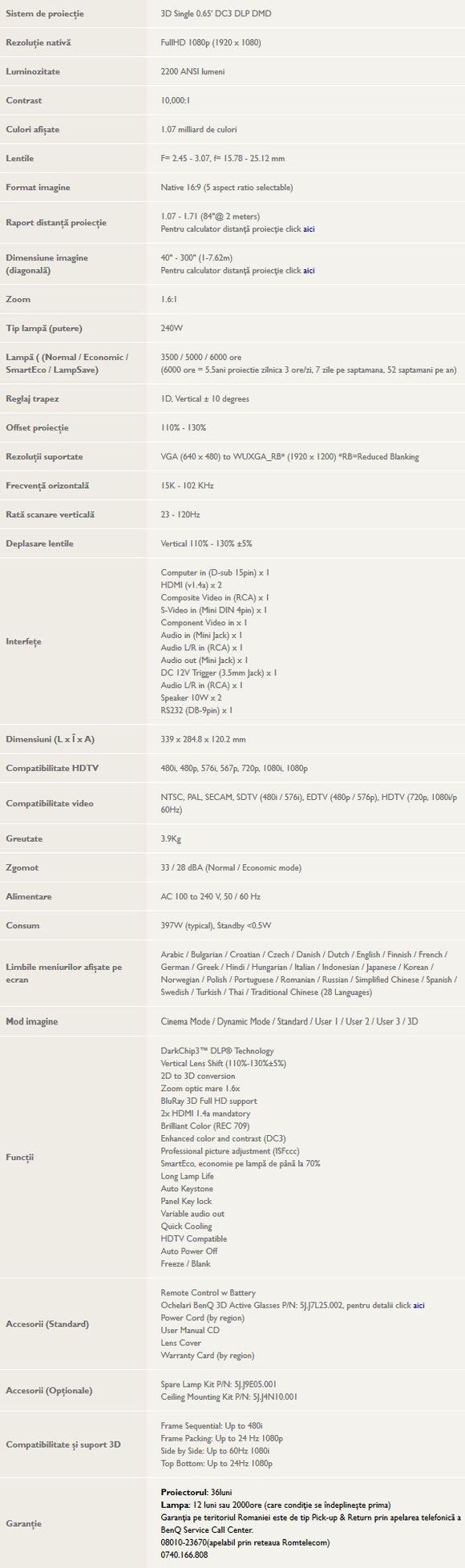 BenQ W1400 - specificatii